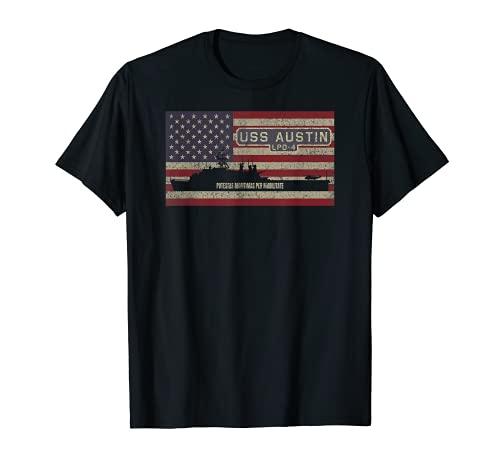 USS Austin LPD-4 Amphibien-Transportdock USA-Flaggengeschenk T-Shirt