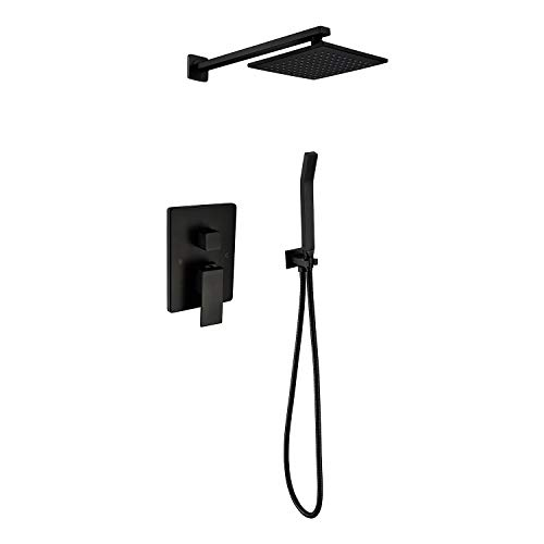 """Shower System, Bathroom Rainfall Shower Faucet Set Complete with 8"""" Rain Shower Head, High Pressure Shower Head with Handheld, Including Shower Rough-In Valve Body and Trim Kit, Matte Black"""