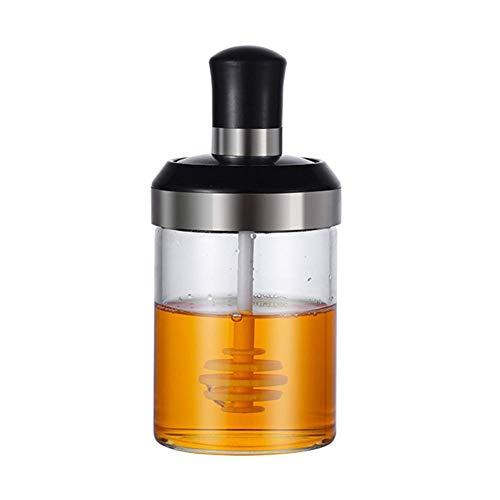 Delisouls Cristal Frascos Especias, Seasonning Caja Condimento Bote, 1pc 250ml Cristal Aderezo Contenedor Aceite Miel Dispensador Botella para Cocina - C