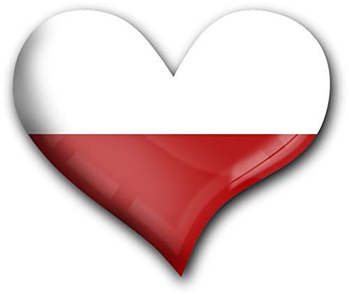 metALUm Herz Acrylmagnet mit starkem Neodym - Magnet Flagge Polen #1311039