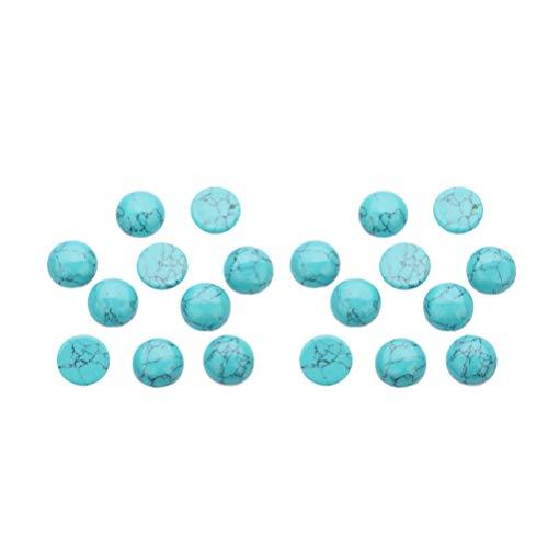 HEALLILY 20 Piedras turquesas Naturales Redondas cabujón Espalda Plana Perlas Gemas camafeos en cúpula para Joyas DIY (Azul) 4 mm
