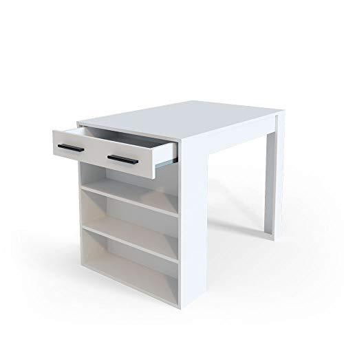 Vicco Bartisch Esstisch Tisch Bistrotisch Essplatz Schublade Regal Bar Weiß wahlweise mit Barhocker (ohne Barhocker)