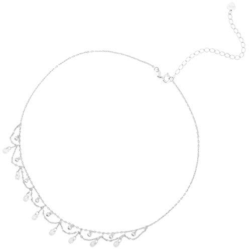 Bluesteer Collar de Plata de Ley 925 Redondo Collar de Borla de circonita AAA para Novia y Madre Joyería de Regalo de Temperamento, Platino de imitación, 40 cm