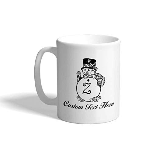 N\A Taza de café de cerámica Personalizada 11 onzas 'Z' Muñeco de Nieve Monograma de Navidad Letra Z Taza de té Blanca Texto Personalizado aquí