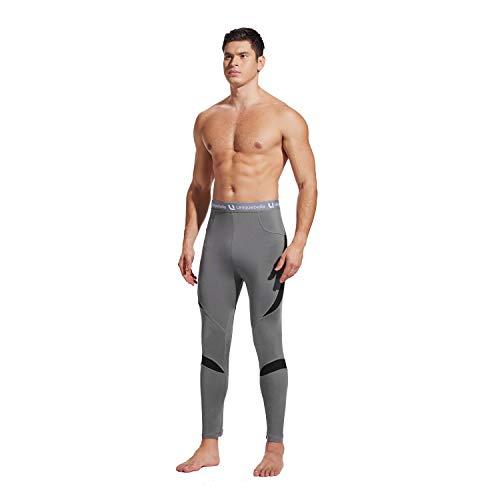 UNIQUEBELLA Herren-Thermounterwäsche, lange Unterhosen, Leggings, mit Fleece gefüttert, schnell trocknend Gr. XXL, grau