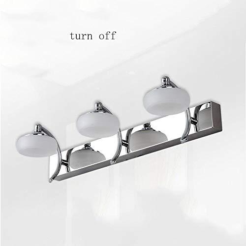 NA Hoofdbadkamerspiegel-koplamp, roestvrij staal, dubbele kop, drie koplampen, moderne badkamerspiegel, spiegelkast, wandlamp, cosmetische spiegel (30 cm - 10 W, 45 cm - 15 W) d