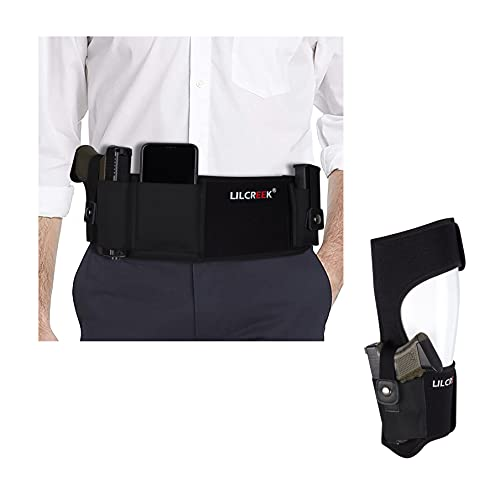 Belly Band Holster+Ankle Holster for Concealed Carry, Neoprene Concealed Carry Tactical Belt for Men Women Fits for Glock, Ruger, M&P Shield, Sig Sauer, Kahr, Beretta, 1911, etc