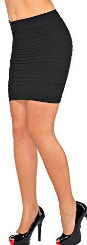jowiha Damen Stretch Bandage Minirock in 4 Farben Schwarz Rot Pink oder Blau Größe S-L (Schwarz)