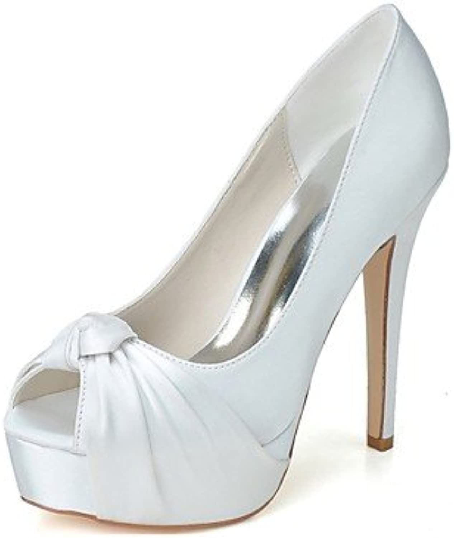 Wuyulunbi@ Damenschuhe Satin Frühling Sommer Basic Pumpe Hochzeit Schuhe Stiletto Heel Peep Toe für Hochzeit Party & Abend Lila Silber Blau  | Vollständige Spezifikation