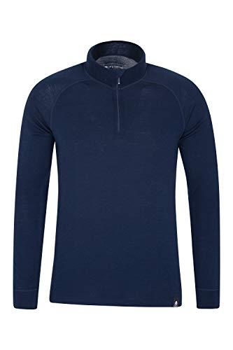 Mountain Warehouse Camiseta térmica Interior en Lana Merina con Manga Larga para Hombre - Camiseta Transpirable, Media Cremallera, Camiseta cómoda - para Acampar, Invierno Azul Marino XS