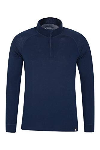 Mountain Warehouse Merino Langarm Baselayer-Thermotop für Herren - Atmungsaktives T-Shirt, Halbreißverschluss, bequemes T-Shirt - Ideal zum Campen Winter Baselayer Marineblau XL