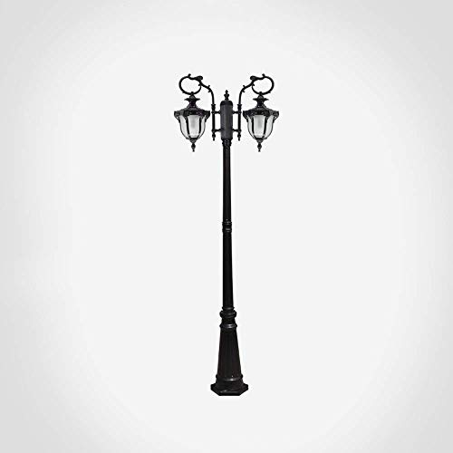 Lámpara de exterior europea con 2 luces para exteriores de jardín Lámpara de pie antigua de LED impermeable IP54 Villa Prato Palo alto Paisaje Farol de cristal vintage Lámpara de estaca para patio