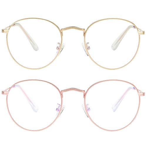 Blue Light Blocking Glasses for women Man Round Metal Anti Blue Ray for Computer Harmful Ray UV Blocker Gaming Glasses