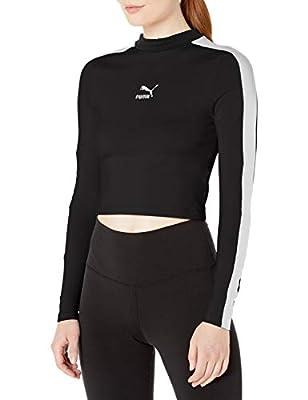 PUMA Women's Classics Long Sleeve Cropped TOP, Cotton Black, S