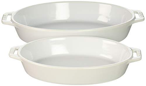 Staub 40508-633 Ceramics Oval Baking Dish Set, 2-Piece, White