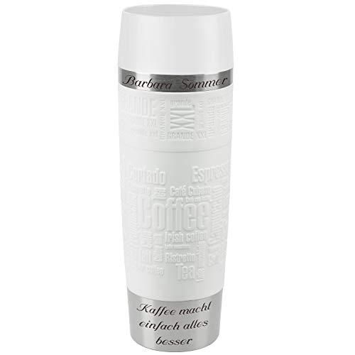 Emsa Thermobecher Travel Mug Grande Weiß 500 ml mit persönlicher Rund-Gravur gelasert Edelstahl Soft-Touch-Manschette Quick Express Verschluss