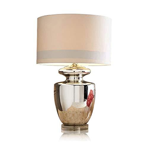 Tafellamp van glas, zilverkleurig, eenvoudig, mondgeblazen van hoogwaardig linnen, corpus E27 leeslamp, werkkamer, slaapkamer, bureaulamp, prachtige decoratie