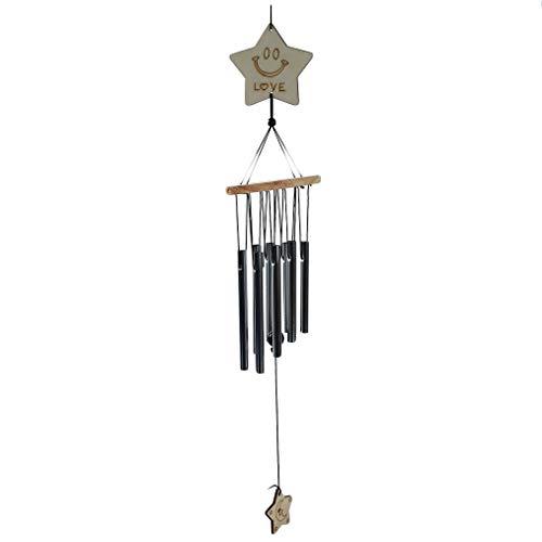 Hengsong Campane eoliche Feng Shui Turbine appese Furin Hook Decorazione Natura Melodiosa Elegante Giardino Regalo per la casa, Argento 65 cm, Pentacolo