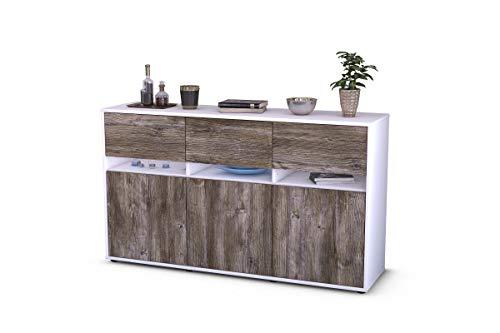 Stil.Zeit Sideboard Andrea/Korpus Weiss matt/Front im Holz-Design Treibholz (135x79x35cm) Push-to-Open Technik & Leichtlaufschienen