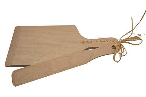 Albgenuss Spätzleschaber-Set: Echtholz Spätzlebrett aus Buchenholz und Spätzleschaber aus Holz