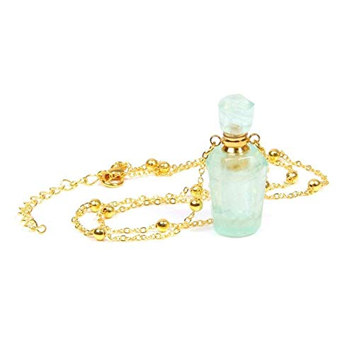 LKITYGF Chic Pendant Natural Fluorite Perfume Wishing Bottle Pendants Necklace For Women Fluorite Choker Gold Chain Necklace Women Gem Stone Fashion necklace (Size : Silver Plated)