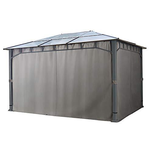 4 Seitenteile für Gartenpavillons 3x4 m - Polyester ca. 180 g/m²- mit Reißverschluss - dunkelgrau