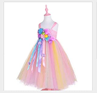 Kids Unicorn Flower Dress Girls Tutu Dress Elegant Princess Tulle Dresses for Wedding Birthday Halloween Christmas Party