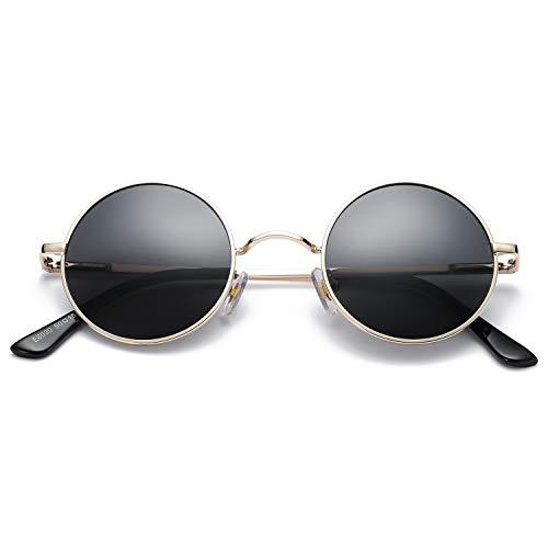 Pro Acme Retro Small Round Polarized Sunglasses for Men Women John Lennon Style (Gold Frame/Black Lens)