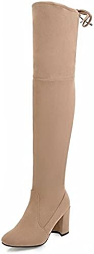 ZHZNVX HSXZ schuhe de damen Moda otoño Invierno Polar Slouch Stiefel Stiefel Stiefel Chunky talón Puntera rotonda sobre la Rodilla Stiefel para Vestidos\Noche