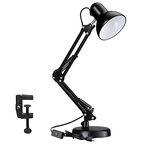 Lampada da Scrivania Vintage LED E27 40W, Lampada da Tavolo Classica con Braccio Girevole e Morsetto, Lampada Braccio per Studio, Lettura, Ufficio, Nera, Lampadina non Inclusa