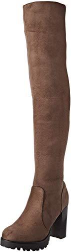 Elara Botas Mujer Overknee High Heels Tacón Alto Chunkyrayan Caqui 0-96-Khaki-36