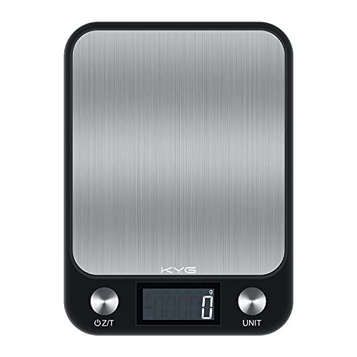 KYG Digitale Küchenwaage mit LCD Display 10kg/1g Haushaltswaage aus Edelstahl Wiegefläche Digitalwaage mit Sensor Touch, Tara Funktion, Batterien