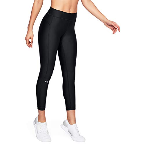 Under Armour Damen UA HeatGear Ankle Crop atmungsaktive, superleichte Sport Leggings mit Passform Kompression, Schwarz, Large