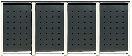4 Tailor Mülltonnenboxen Basic Duo für 240 Liter Tonne/Stanzung 2 / Farbe RAL 7016 Anthrazit/Rahmen RAL 9006 hell Grau/Verschönern Sie Ihre unansehnliche Mülltonnen in Ihrem Hof und Garten!