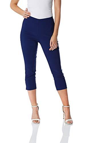 Roman Originals Women Capri Pants Cropped Trouser Stretch Legging - Midnight Blue 16