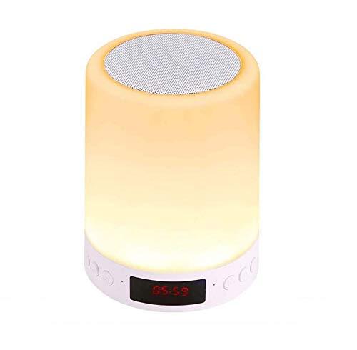 STRMSF Lámpara de altavoz Bluetooth tactil, Luz de Nocturna LED 7 colores, Portatil lamparas mesita de noche dormitorio con Despertador para Escritorio, Habitación, Camping, Ambiente de Interior