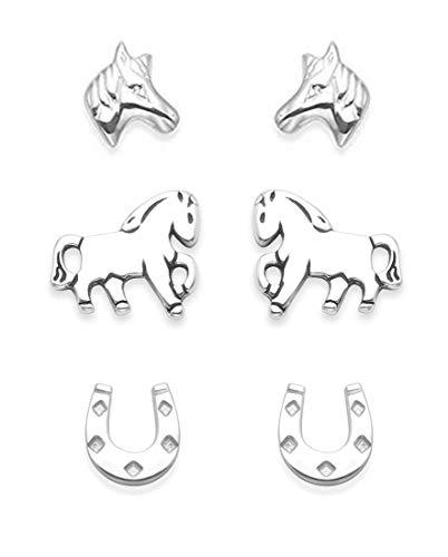 Ohrstecker-Set aus 925er Sterlingsilber, Design: Pferde, 3 Paar, Größe: 8mm Motive: Pferd, Pferdehuf und Pferdekopf, mit Geschenkbox 5024SET