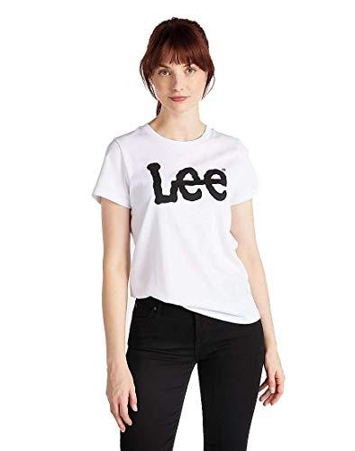 Lee Logo tee Camiseta, Blanco (White 12), Medium para Mujer
