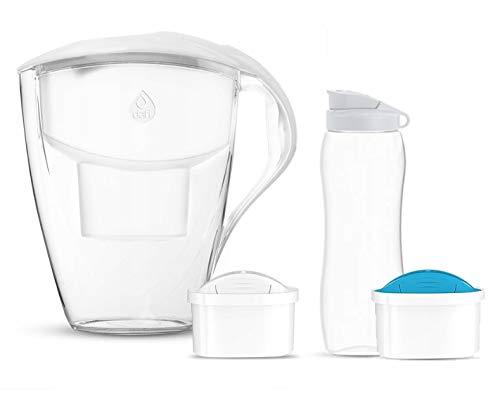 rg-vertrieb Wasserfilterkanne Dafi Astra 3L Tischwasserfilter + 2 Filter Filterkartuschen Unimax - Standard und Mg+ Filter Filterkanne + Trinkflasche 0,7L (Weiß)