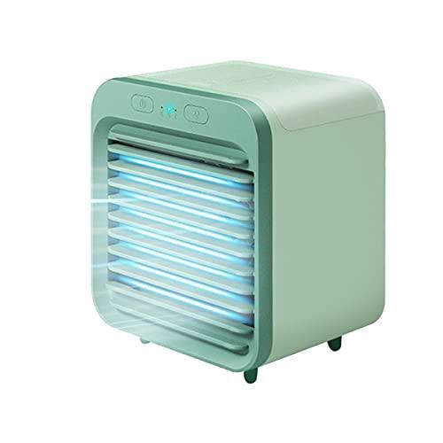 Aire acondicionado portátil, enfriador de aire evaporativo recargable, mini ventilador de aire acondicionado USB 5 en 1, humidificador, ventilador de escritorio con 3 velocidades para la oficina