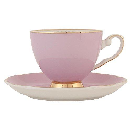 Clayre & Eef 6CE0361P Kaffeetasse Tasse mit Untertasse rosa ca. 02L