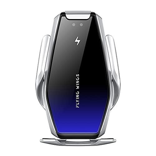 15 W Soporte de teléfono móvil inalámbrico rápido con función de Carga Qi, Sensor infrarrojo, estación de Carga de Soporte Fijo de inducción automática para iPhone, Samsung, Xiaomi, Huawei, etc.