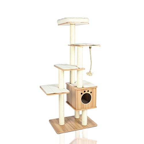 "LAZY BUDDY 67"" XXL Wooden Cat Tree Tower, Modern Cat Play House Stand, 5 Level Furniture Castle for Cat's Activity, W/Removable&Washable Mats, Perch&Condo, Sisal Line for Kittens, Large Cat&Pet"