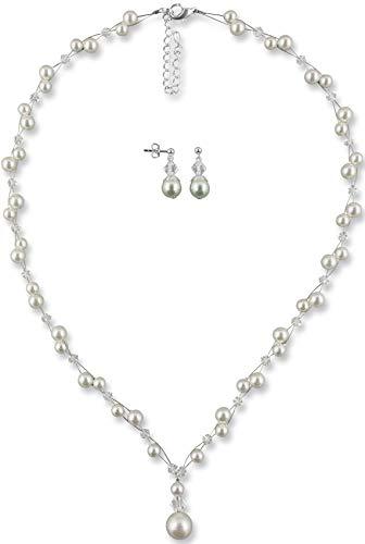 Rivelle Damen Brautschmuck Set creme Schmuckset Swarovski kristall Perlen Halskette Collier Ohrringe Schmuck Hochzeit Geschenkbox