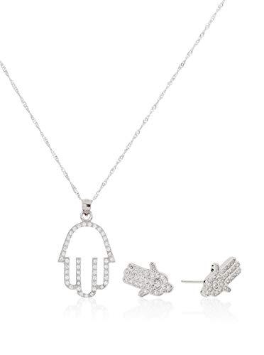 Córdoba Jewels | Conjunto de Gargantilla y Pendientes en Plata de Ley 925. Diseño Mano de Fátima Zirconium