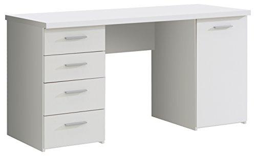 FORTE Net106 Schreibtisch mit 4 Schubkästen und 1 Tür, Holz, weiß matt, 145 x 60 x 76.3 cm