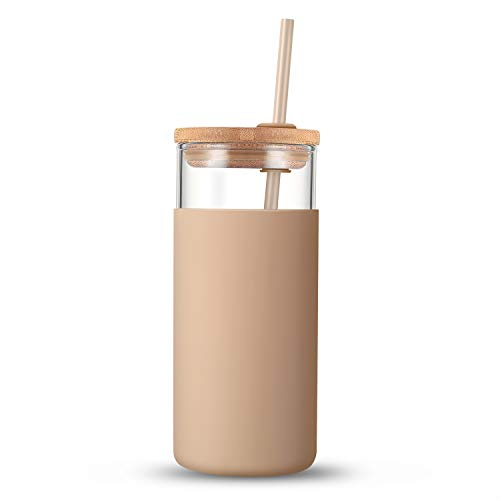 Tronco - Vaso de vidrio con capacidad de 20 onzas, popote de silicona, funda protectora, tapa de bambú, libre de BPA.