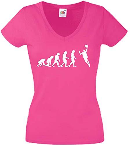 JINTORA T-Shirt - Chemise Femme Rose - V-Cou - Taille XL - Evolution du handballer - JDM/La Coupe - pour la fête Carnaval Travail et Loisirs