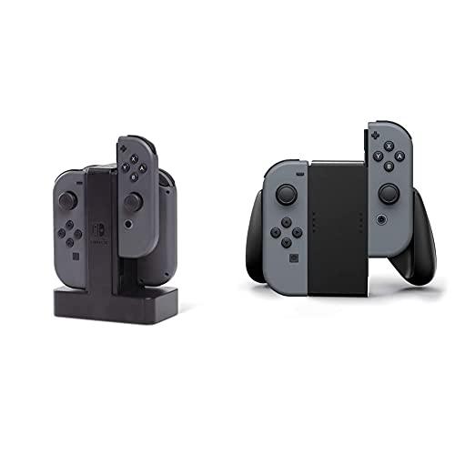 PowerA - Estación de Carga Joy-con (Nintendo Switch) + Nintendo Switch Joy-con Comfort Grip, Negro