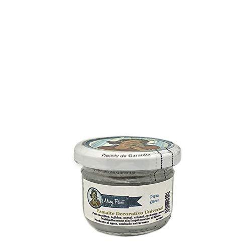 Mary Paint   Pintura para muebles efecto Chalk Paint, Plata Metalizado - 140ml